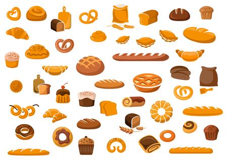 Panadería y pastelería Iconos de los productos establecidos con varios tipos de pan, bollos dulces, bizcochos, pasta y pasteles para la tienda de la panadería o el diseño de alimentos