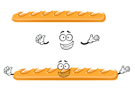 baked: Funny cartoon baked french baguette bread character with happy face and little hands Illustration