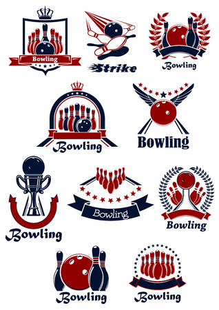 sport icon: Bowling club emblems and icons with balls, ninepins, lanes and trophy, supplemented by laurel wreaths, ribbon banners, shield, stars, crowns and wings