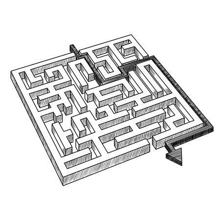 maze: Sketch of labyrinth or maze, solved by arrow, showing a workaround solution, for success theme design