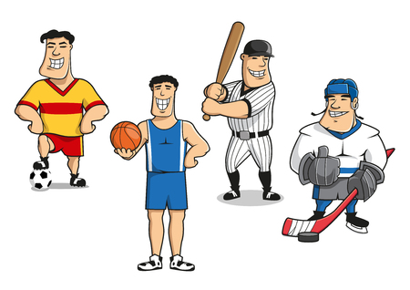 Cartoon smiling professional football, basketball, baseball and ice hockey player characters in sporting uniform with balls, bat, stick and puck.  For sport game theme design Illustration