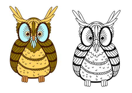 eagle owl: Cartoon  eagle owl character with second variant in outline style, for Halloween or education theme