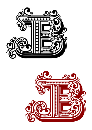 initial cap: Calligraphic letter B in uppercase font with elegant swirls and dots ornament for certificate or monogram design Illustration