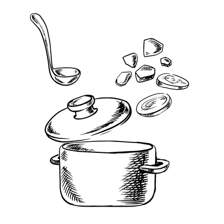 soup pot: Vegetable soup cooking process sketch with cooking pot, ladle and slices of fresh carrot and potato vegetables, for healthy vegetarian food theme