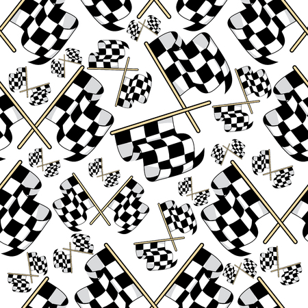 motocross: Seamless pattern of black and white crossed motor racing flags in a variety of sizes in a scattered pattern
