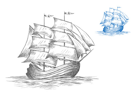 Old wooden sailing ship under full sail on the sea in two color variations in grey and blue, sketch