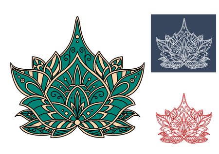embellishment: Bloom of green paisley flower, decorated by traditional indian ornamental elements, for textile or lace embellishment design
