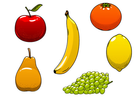 apple isolated: Fresh juicy ripe yellow banana, lemon and pear, red apple, green grape and orange fruits, isolated on white. For agriculture harvest or healthy food themes Illustration