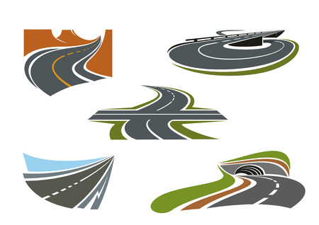 highway: Crossroad, mountain road, highway tunnel, road bridge and modern speed freeway icons set, for transportation theme