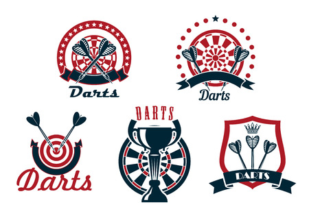 stars and symbols: Darts game icons or symbols showing arrows with dartboards and medieval shield on background, decorated by ribbon banners, trophy cup, stars and crown Illustration