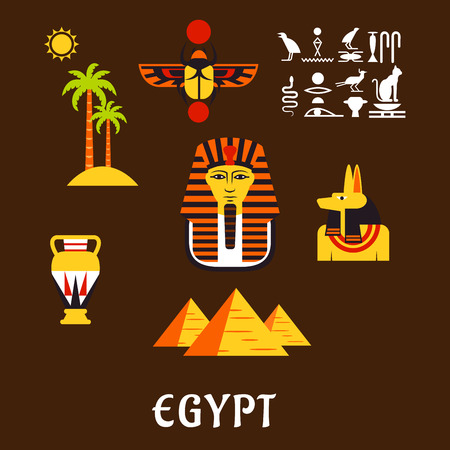 egypt anubis: Egypt travel and culture flat icons with Giza pyramids, golden mask of pharaoh, ancient hieroglyphics, scarab amulet, anubis god, amphora and nature landscape of palm trees with sun
