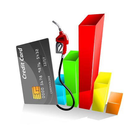 oil and gas industry: Credit card with gas pump nozzle near of colorful bar chart of decreasing gasoline price. For gas and oil industry theme