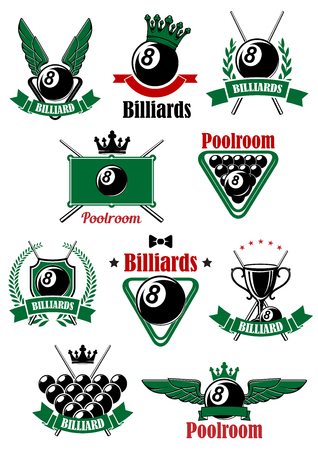cues: Billiards  or poolroom icons with billiard table, balls, cues and triangle rack, decorated by heraldic shield, wreaths, ribbon banners, crowns, wings and stars