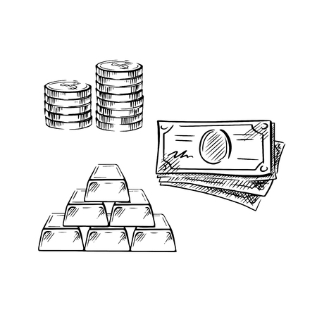 pile of cash: Dollar bills, stacks of coins and gold bars sketches, isolated on white. For financial or banking theme Illustration