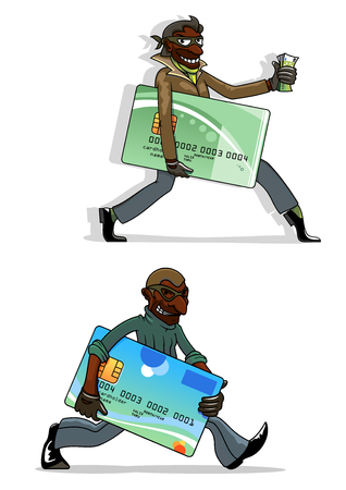 spyware: African american thieves cartoon characters with stolen plastic bank cards and money in hands. For cyber crime or criminal theme concept Illustration
