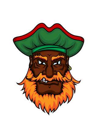 sea robber: Dangerous african american pirate captain cartoon character with red beard and green hat for nautical or marine adventure theme