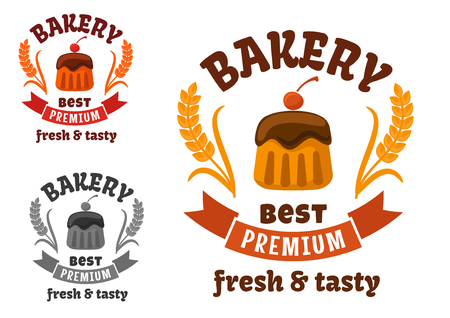 frosting: Premium bakery or pastry shop sign with chocolate cupcake, frosting and cocktail cherry, supplemented by wheat ears and ribbon banner Illustration