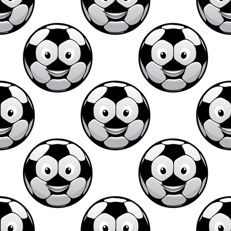 sporting: Funny football seamless pattern with smiling cartoon soccer balls on white background, for sporting theme design Illustration