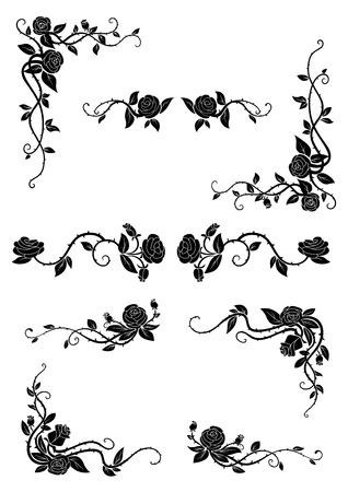 Vintage floral borders with blooming rose vines, adorned by lush flowers and dainty buds. Retro style dividers and corners Vectores