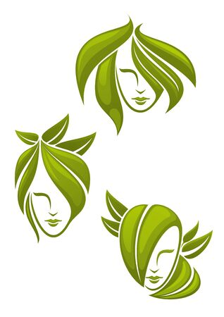 logo design: Young woman portraits with elegant hairstyles, composed of curly green leaves, for natural cosmetics and health care themes