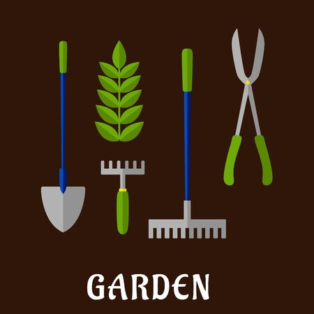 garden plant: Gardening tools and items flat icons with shovel, hand fork, green plant, rake and bypass loppers with caption Garden below