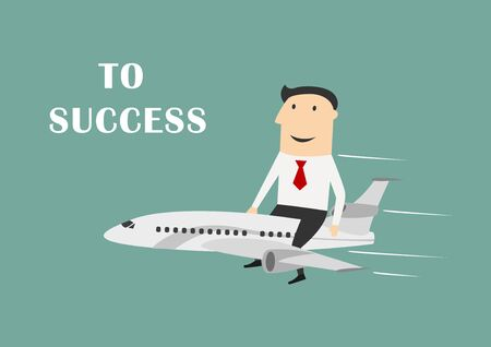 Cheerful cartoon businessman flying on white airplane to success, for leadership or motivation concept themes. Flat style Stock Illustratie