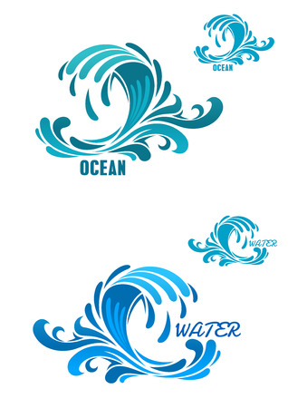 Blue wave icons with water curls and swirly drops, for nature or ecology design Ilustrace