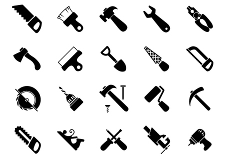 jack plane: Hand and power tools black icons set with hammers, saws, axe, shovel, screwdrivers, wrench, pliers, drills, paintbrush and roller, spatula, rasp, bench vice, pickaxe and jack plane