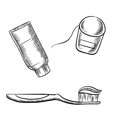 mondhygiene: Toothpaste tube, toothbrush and dental floss sketch icons, for oral hygiene or dentistry theme design.