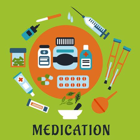 einlauf: Medikamente flache Ikonen mit Flaschen, Pillen und Kapseln, die von Chirurgen umkreist, Pipette mit Tropfen, Salben, Pflaster, Einlauf, Kr�cken, M�rser und St��el mit Kr�utern Illustration