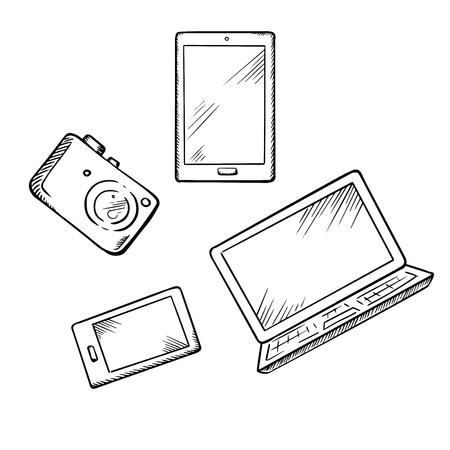 boceto: Bosquejo de smartphone moderno, Tablet PC, ordenador portátil y una cámara de fotos digital, para el diseño de dispositivos electrónicos tema