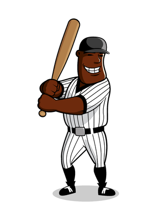 american sport: Cartoon african american baseball player with bat in hands awaiting a pitch from pitcher, for sport game theme design