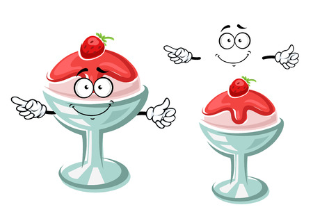sweet sauce: Delicious cartoon sundae ice cream dessert character in glass with fruity sauce and fresh strawberry. For dessert menu theme