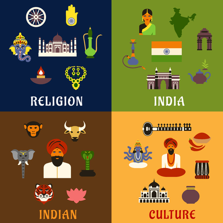 god's cow: Indian culture, religion, travel and national flat icons with of map, flag, temples, animals of worship, musical instruments, tea leaves, sculptures of gods, traditional clothes