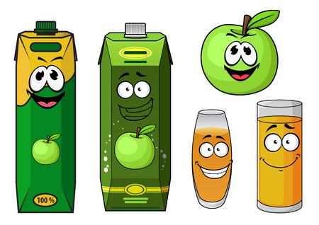 jugo de frutas: Manzana caracteres naturales de dibujos animados de jugo de frutas con manzana verde, envases de cartón con tapa roscada y vasos con bebidas de color amarillo, para el diseño de los envases de bebidas Vectores