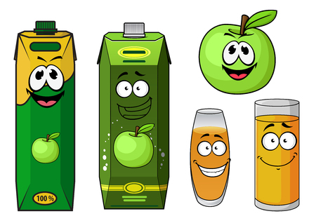 fruit juices: Natural apple juice cartoon characters with green apple fruit, carton packs with screw caps and glasses with yellow beverages, for drink packaging design