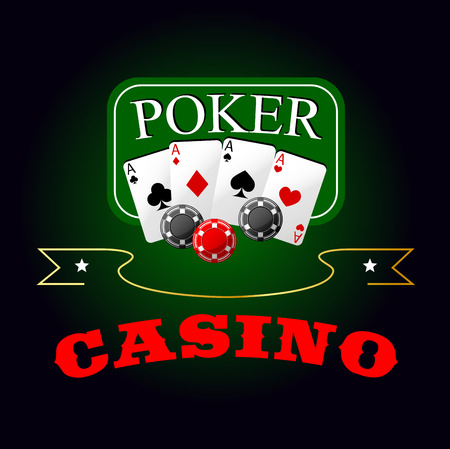 gambling game: Poker game symbol with four aces cards and gambling chips lying on the green poker table, supplemented by golden ribbon banner with stars and caption Casino