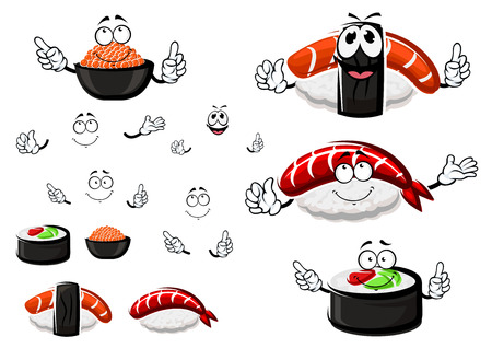 Nigiri sushi with shrimp and smoked salmon, sushi roll with tuna and avocado and salted red caviar cartoon characters, for seafood menu theme