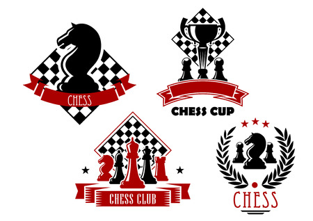Chess club and tournament cup icons with king, queen, bishop, knight, rook and pawn pieces, trophy cup and chessboards, framed by laurel wreath, ribbon banners and stars Иллюстрация