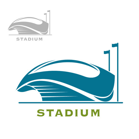 soccer field: Modern stadium building blue icon with cup shaped base, open roof and caption Stadium below, for sport theme design Illustration