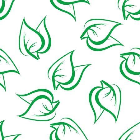 green leaves: Spring seamless pattern with fragile green leaves randomly scattered on white background. For wallpaper or fabric design