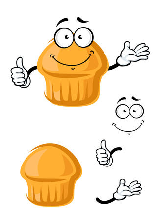 appetizing: Appetizing breakfast orange muffin cartoon character with smiling face,  for food or pastry shop menu theme Illustration