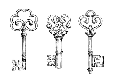 forged: Vintage decorative keys with ornamental bows, adorned by swirls and forged elements. Sketch style