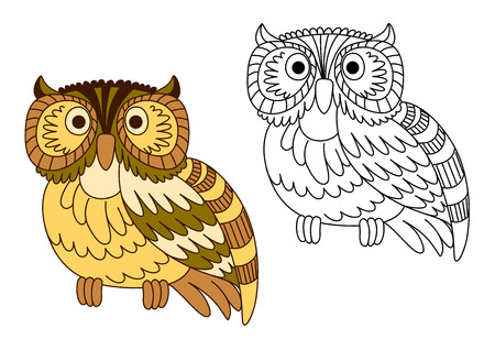 eared: Cartoon brown short eared owl with barred wings and tail, second variant in outline style