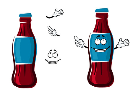 Smiling sweet soda bottle cartoon character with blue cap and label, showing finger away, for soft drink or fast food theme