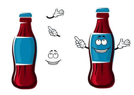 Sourire personnage de dessin animé de bouteille de soda sucré avec bouchon et étiquette bleue, montrant du doigt loin, pour boisson gazeuse ou un thème de la restauration rapide Vecteurs
