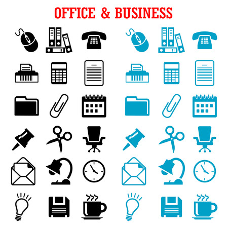 shredder: Business and office flat icons with blue and black light bulb, phone, calendar, calculator, mouse, mail, folders, documents, clock, coffee, chair, shredder, scissors, lamp, pin, clip Illustration