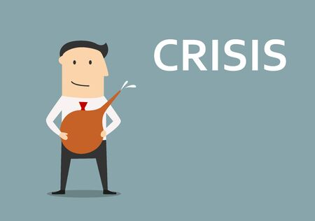 crisis management: Smiling businessman with medical enema in hands, ready to clean out business from crisis. For crisis management design, cartoon flat style
