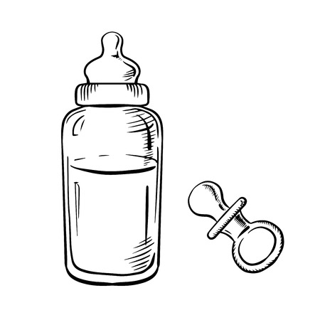 baby with bottle: Baby bottle with milk and soft rubber pacifier sketch icons