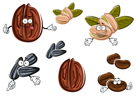 healthful: Healthful funny walnut, pistachio, sunflower seeds and coffee beans cartoon characters, isolated on white Illustration
